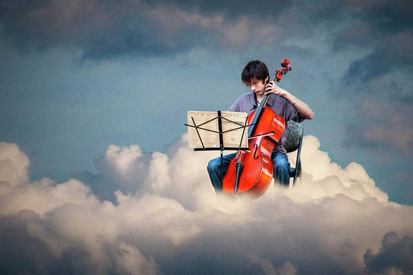 Photograph - Cello Player Playing On Cloud Nine by Randall Nyhof