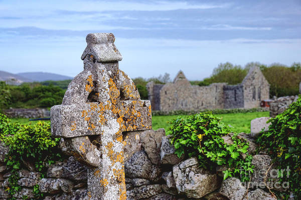 Wall Art - Photograph - Celtic Cross At Kilmacduagh Monastery  by Olivier Le Queinec