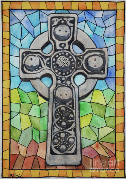 Painting - Celtic Cross In Stained Glass by Ralph F Wilson