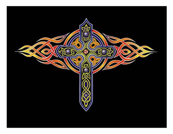 Wall Art - Digital Art - Celtic Crossfire by Wes Connell