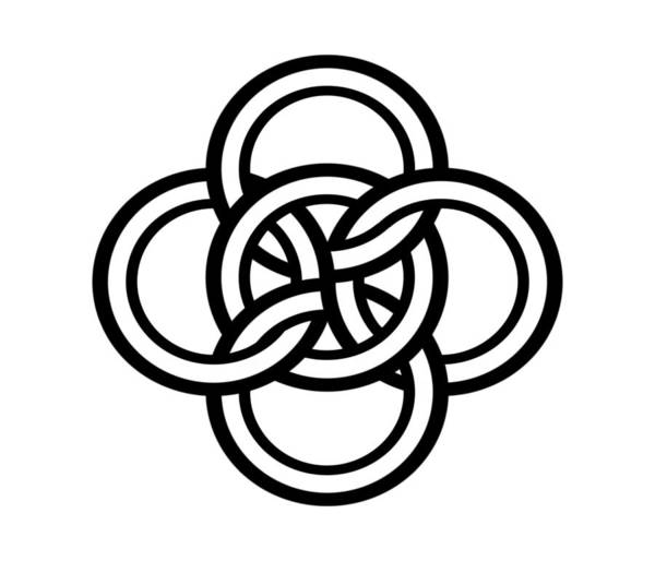 Drawing - Celtic Five Fold Symbol 1 by Joan Stratton