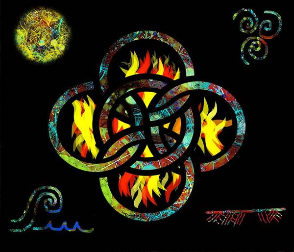 Drawing - Celtic Five Fold Symbol 4 by Joan Stratton