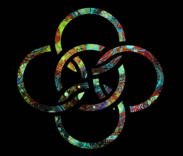 Drawing - Celtic Five Fold Symbol 7 by Joan Stratton