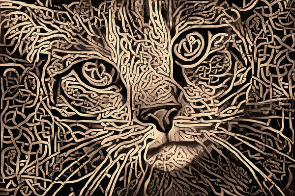 Digital Art - Celtic Knot Tabby Cat - Sepia Version by Peggy Collins