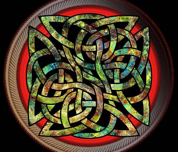 Drawing - Celtic Shield Knot 5 by Joan Stratton
