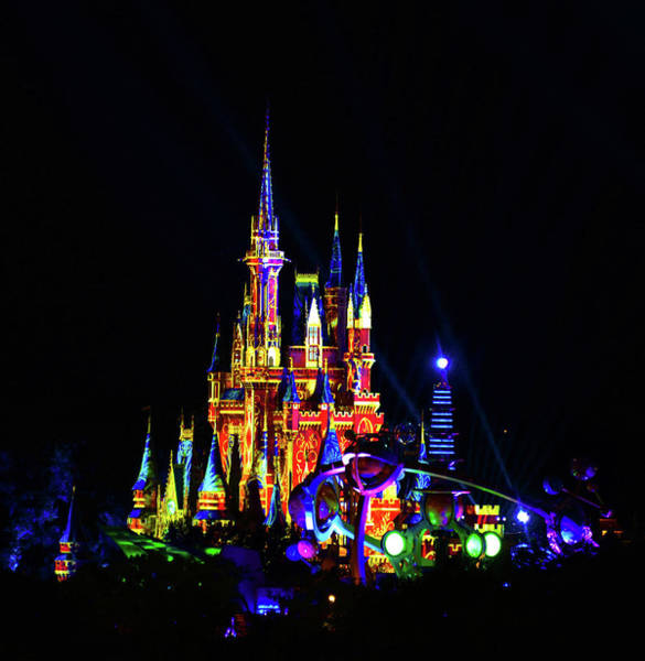 Tomorrowland Photograph - Cinderellas Castle And Happily Ever After Light Projection by David Lee Thompson
