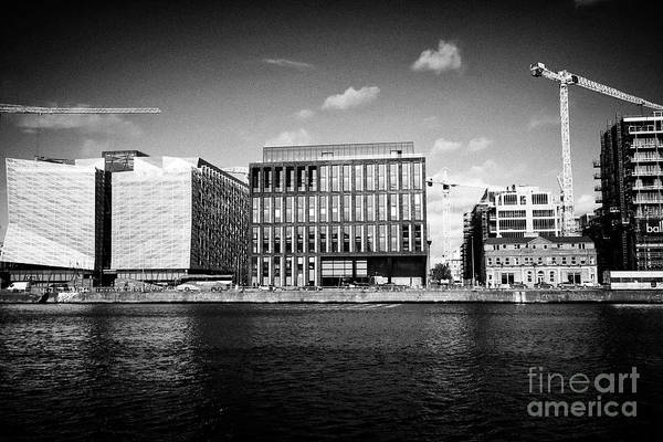 Wall Art - Photograph - Cental Bank Of Ireland 1 And 2 Dublin Landings And Cranes And New Office Developments At Dublin Land by Joe Fox