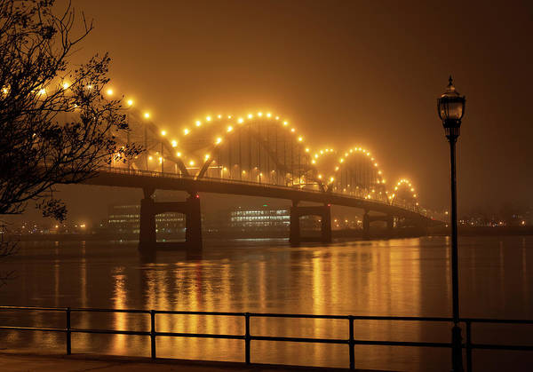 Centennial Bridge Photograph - Centennial Bridge Iowa Night Photo by Sandra Johnson