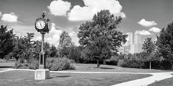 Photograph - Centennial Park Clock And Tulsa Skyline Panorama - Monochrome by Gregory Ballos