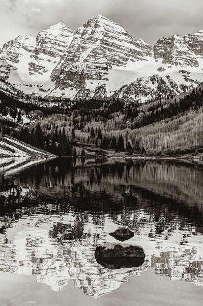 Photograph - Center Panel 2 Of 3 - Panoramic Maroon Bells Sepia Mountain Landscape by Gregory Ballos