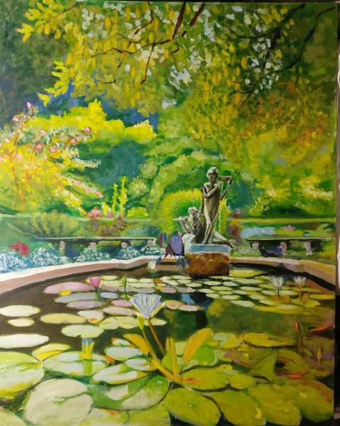 Painting - Central-park-conservatory-garden by Nicolas Bouteneff