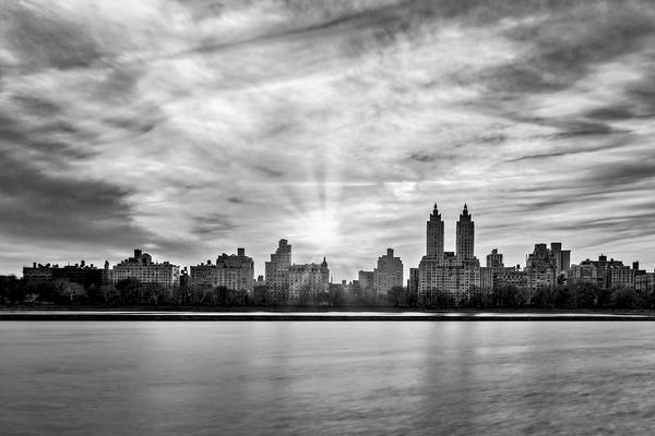 Photograph - Central Park Lake Nyc Skyline Bw by Susan Candelario