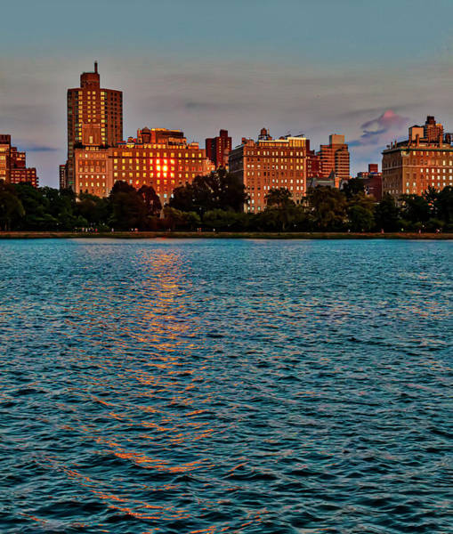 Photograph - Central Park Resevoir At Sunset Looking At 5th Avenue  by Robert Ullmann