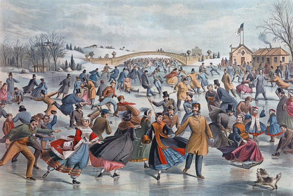 Garment Photograph - Central-park, Winter The Skating Pond by Hulton Archive