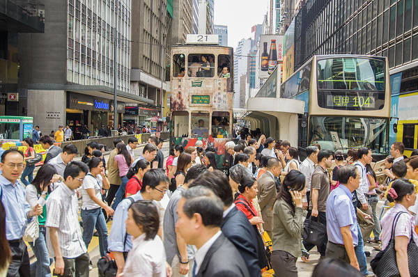 Rush Hour Photograph - Central, Rush Time At Des Voeux Road by Maremagnum