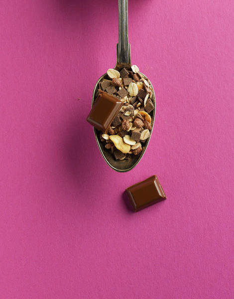 Wall Art - Photograph - Cereal And Chocolate In Spoon On Pink by Westend61