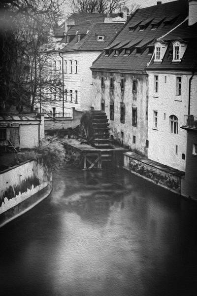 Praha Wall Art - Photograph - Certovka Canal And Old Water Wheel Prague In Black And White by Carol Japp