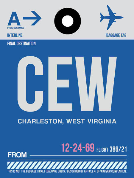 Wall Art - Digital Art - Cew Charleston Luggage Tag I by Naxart Studio