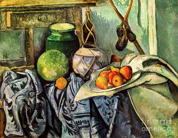 Painting - Cezanne Still Life With A Ginger Jar And Eggplants by Paul Cezanne