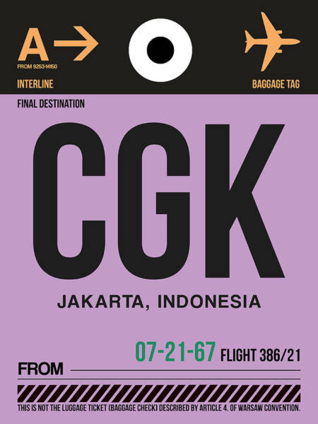Indonesia Digital Art - Cgk Jakarta Luggage Tag I by Naxart Studio