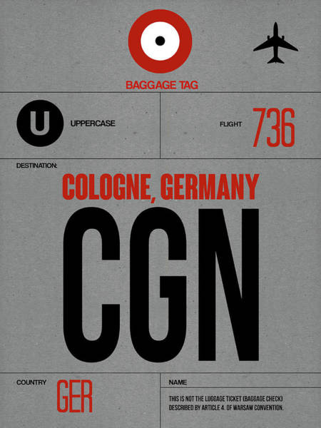 Wall Art - Digital Art - Cgn Cologne Luggage Tag I by Naxart Studio