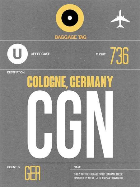 Wall Art - Digital Art - Cgn Cologne Luggage Tag II by Naxart Studio