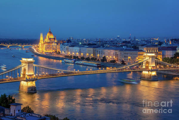 Wall Art - Photograph - Chain Bridge And Budapest Parliament At Night by Delphimages Photo Creations