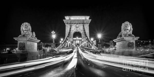 Wall Art - Photograph - Chain Bridge At Night In Budapest by Delphimages Photo Creations