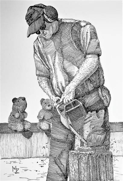 Lumberjacks Drawing - Chainsaw Sculpting by Margaret Zabor