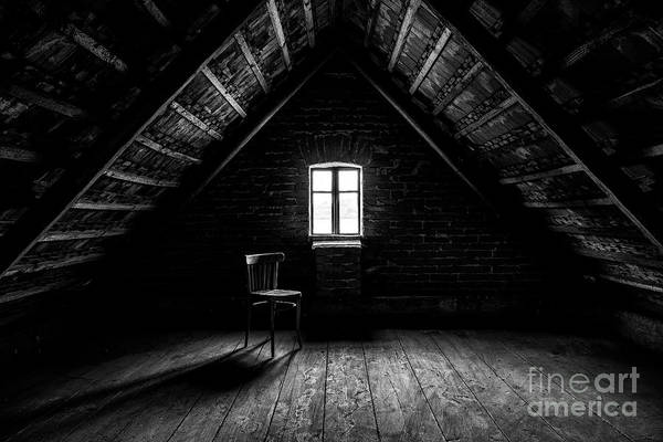 Wall Art - Photograph - Chair And Window In Empty Attic In by Petr Lenz