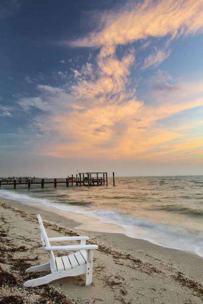 Boca Grande Photograph - Chair On Beach At Sunrise, Boca Grande by Adam Jones