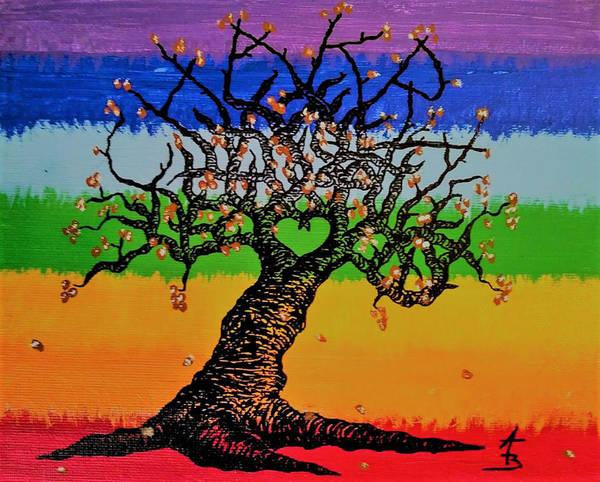 Drawing - Chakra Love Tree by Aaron Bombalicki