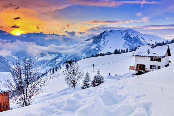 Chalet Photograph - Chalet In The French Alps Looking The by Yoann Jezequel Photography