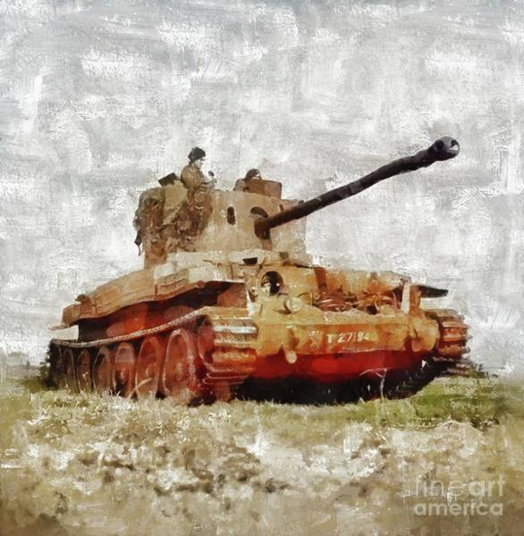 Tank Painting - Challenger Tank, World War Two by Mary Bassett