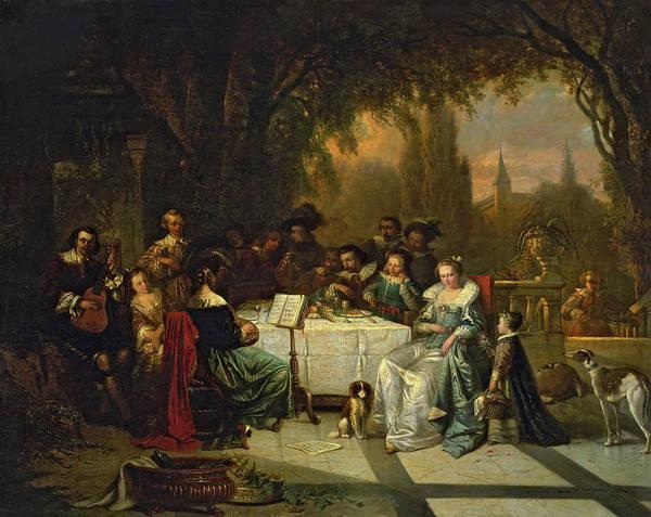Elegant Dog Painting - Chamber Concert, 1854 by Adrien Ferdinand de Braekeleer