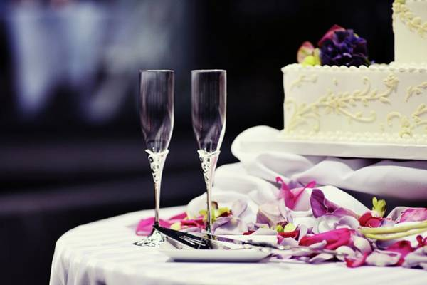 Wedding Cake Photograph - Champagne Flutes And Wedding Cake by Photography By Karolina King