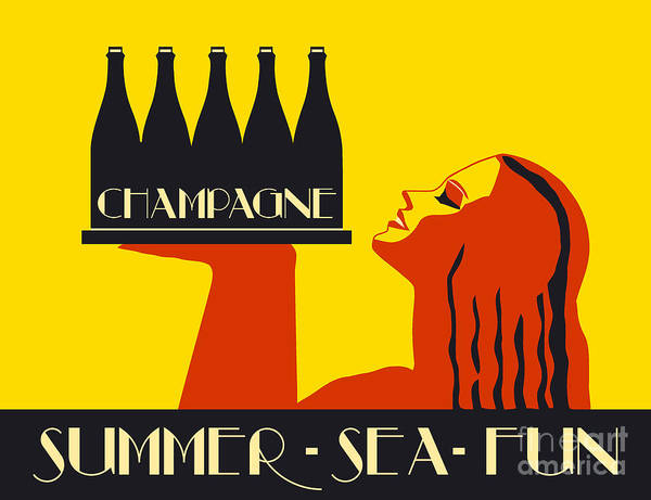 Drawing - Champagne Summer Sea Fun by Aapshop