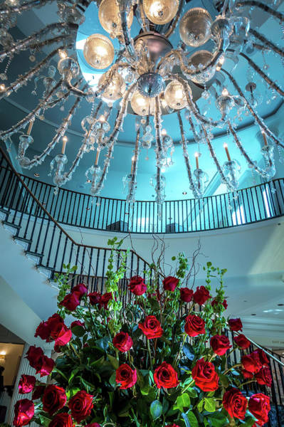 Photograph - Chandelier Hanging Over Lobby With Stair And Luxury Hall by Alex Grichenko