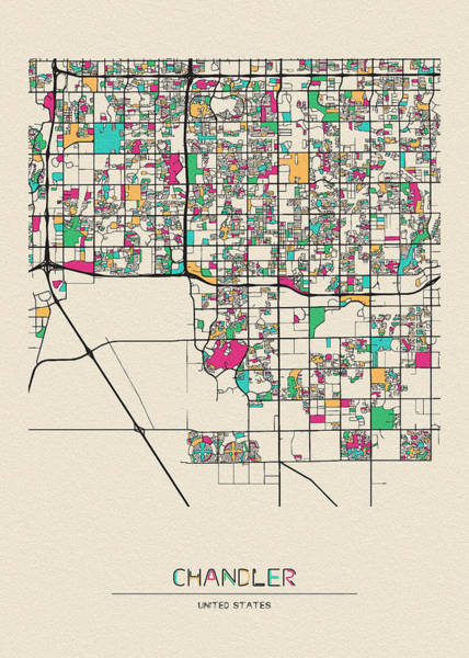 Wall Art - Drawing - Chandler, Arizona City Map by Inspirowl Design