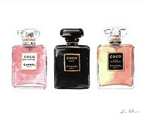 Wall Art - Painting - Chanel Coco Mademoiselle Perfumes by Laura Row