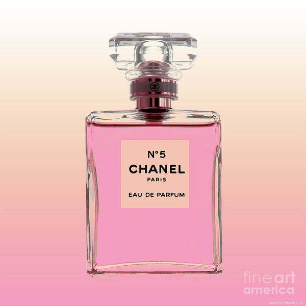 Digital Art - Chanel N0 5 - Pink Background by Jean luc Comperat