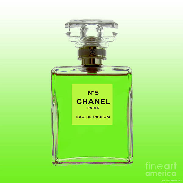 Digital Art - Chanel No 5 -lime Green Background by Jean luc Comperat