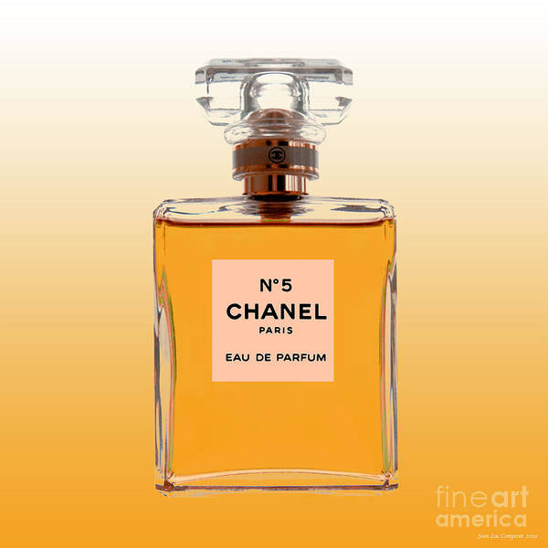 Digital Art - Chanel No 5 - Orange Background by Jean luc Comperat