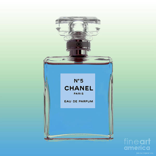 Digital Art - Chanel No 5 - Periwinkle Background by Jean luc Comperat