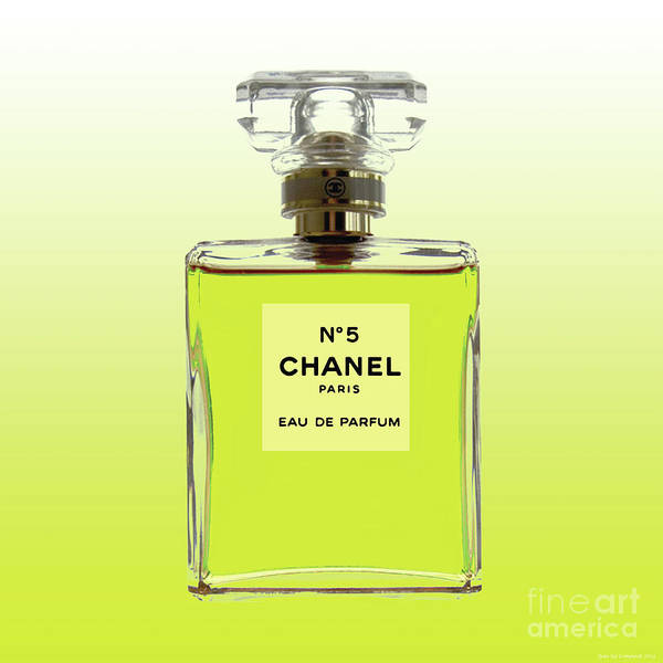 Digital Art - Chanel No 5 - Yellow Citrus Background by Jean luc Comperat