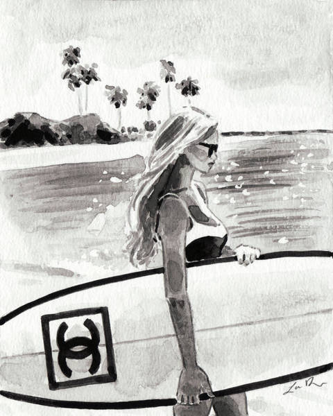 Wall Art - Painting - Chanel Surf In Black And White by Laura Row