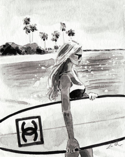 Wall Art - Painting - Chanel Surf In Paradise by Laura Row