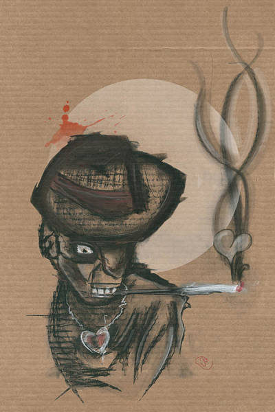 Wall Art - Mixed Media - Chaos Portrait - Man In Hat by Joseph Oland