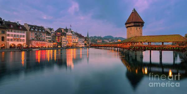 Chapel Bridge Photograph - Chapel Bridge, Lucerne, Switzerland by Henk Meijer Photography