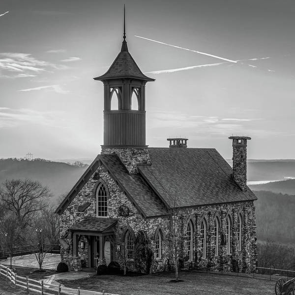 Photograph - Chapel Of The Ozarks - Ridgdale Missouri 1x1 Monochrome by Gregory Ballos